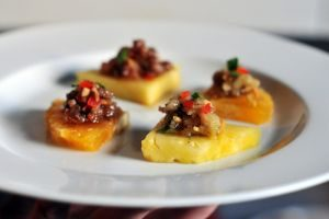 Cambodian food Recipes pineapple topped with pork