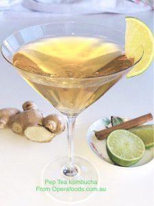 Pep Tea Lime and Ginger Kombucha Cocktail